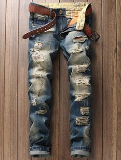 $22.73 Pocket Rivet Scratched Zipper Fly Ripped Jeans