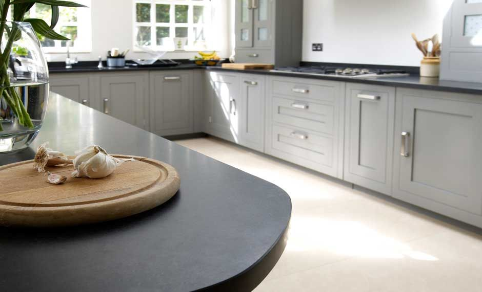 a stunning kitchen with a beautiful curved honed granite worktop and cava limestone floor   www a stunning kitchen with a beautiful curved honed granite worktop      rh   pinterest co uk
