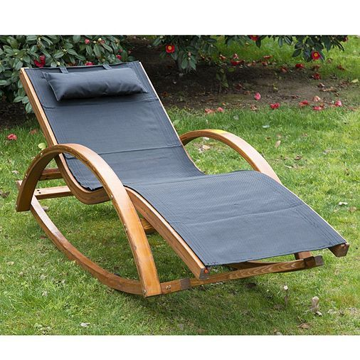 Tesco Direct Outsunny Outdoor Rocking Chair Recliner Pine