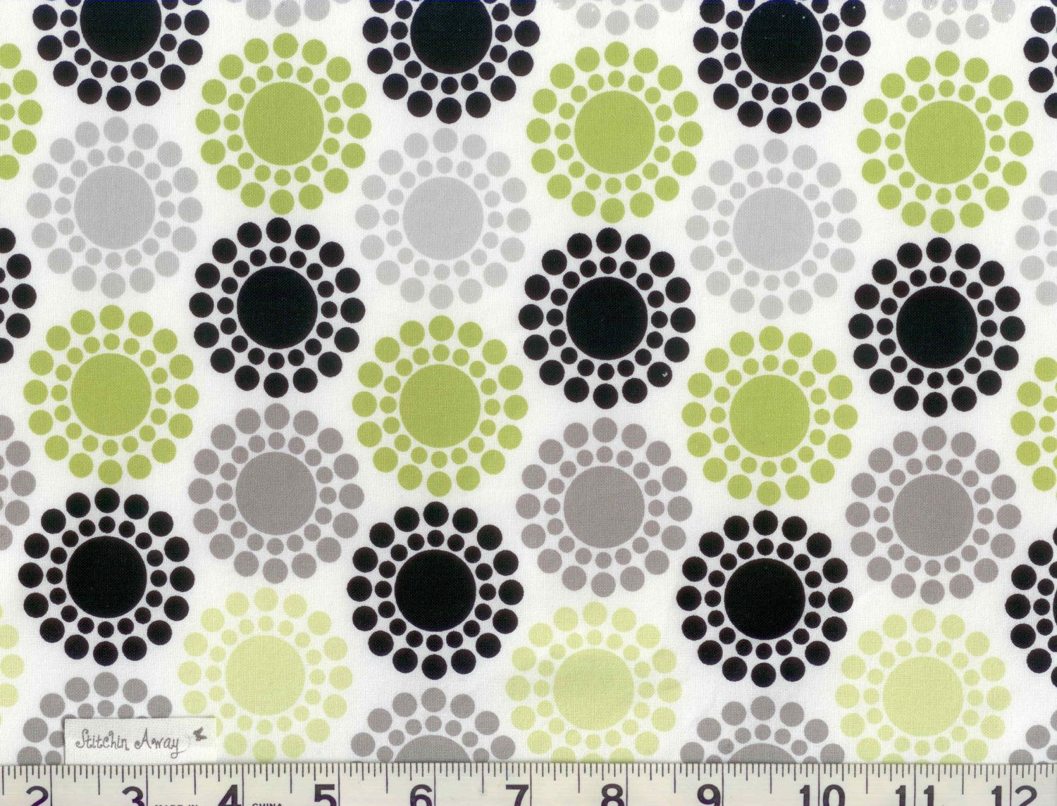 Black LIME Green White and Gray CIRCLES and Polka DOTS Fabric New ...