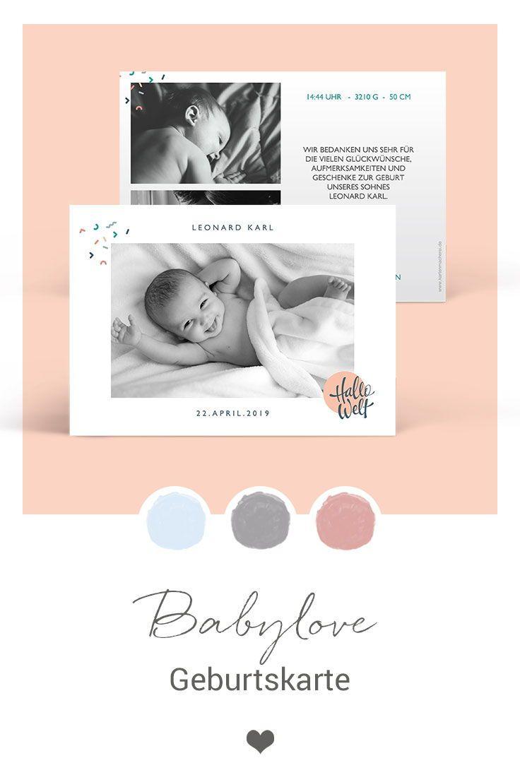 Geburtskarte Babylove Newborn Announcement Polaroid Film