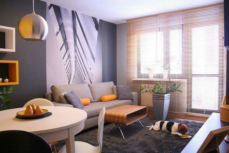 dunkelgraue Wandfarbe, dekorative Fototapete, orange Akzente und - schlafzimmer orange