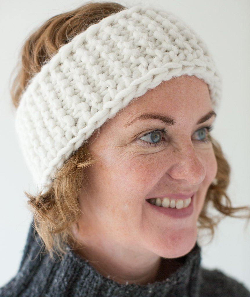 We knit this headband in super-chunky-weight Blue Sky ...