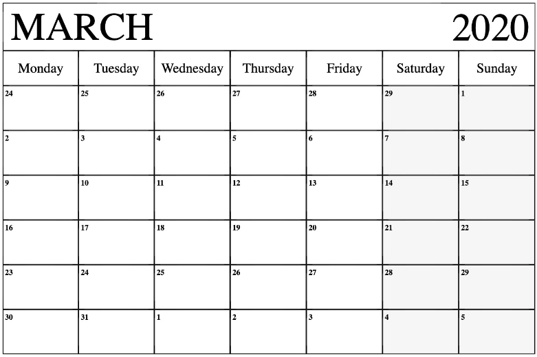 March 2020 Calendar Excel Sheet Free Printable Calendar Template In 2020 Calendar March Excel Calendar Calendar Template