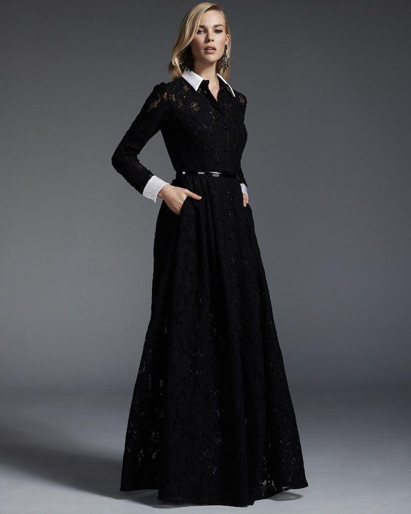Carmen Marc Valvo Long-Sleeve Lace Belted Gown | Favor Style|Women ...