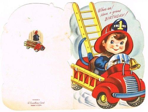 1950s Vintage Birthday Card Juvenile Fire Truck Fireman Novelty Sunshine Used Ebay Vintage Birthday Cards Fire Man Birthday Party Fireman Birthday
