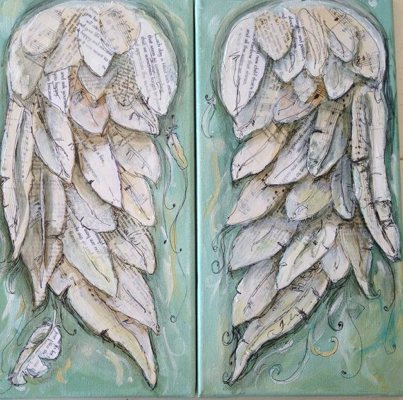 Angel wings painting.   FLY. Wings of Love by MichelleLakeArt, $100.00