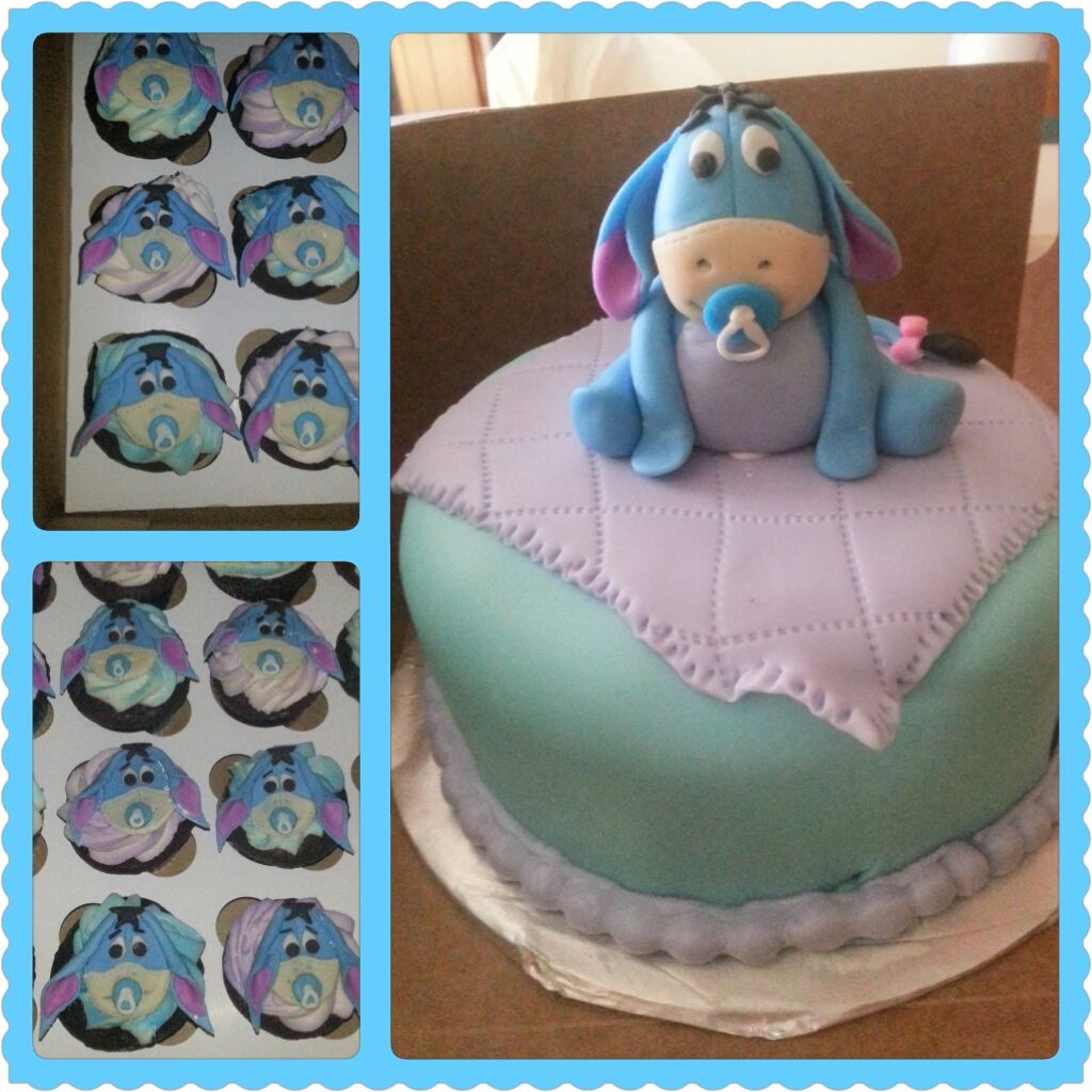 Baby Eeyore Baby Shower Cake  Cupcakes - 6 Cake With 50