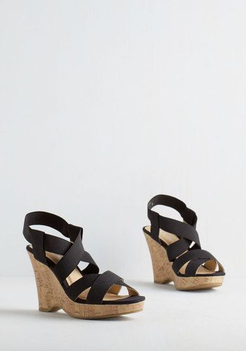 Strap To It Wedge By Cl By Chinese Laundry Black Solid Summer