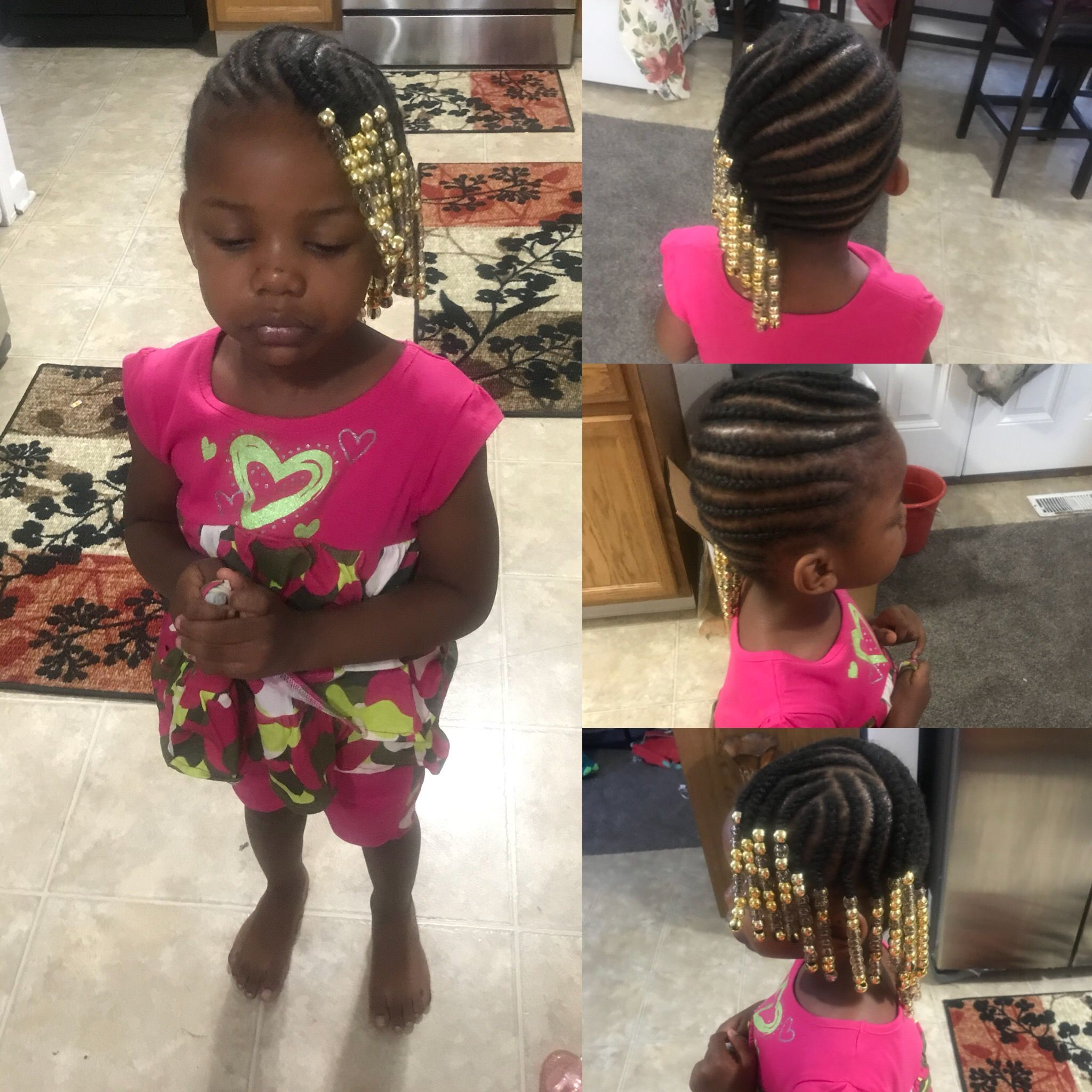 Simple Lemonade Braids With Beads Braids With Beads Kid Braid Styles Kids Hairstyles