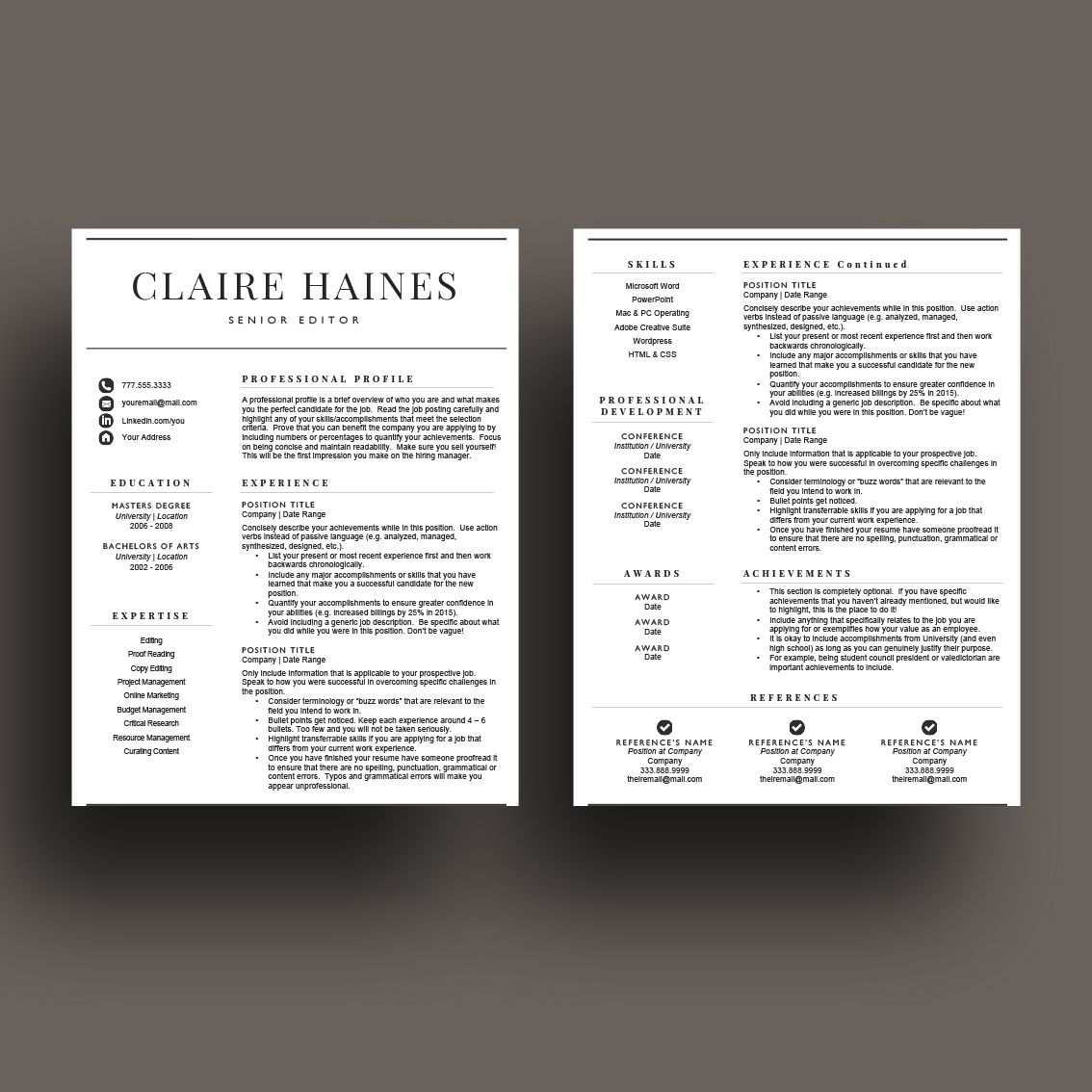 Professional 2 page resume template for 15.00. Designed