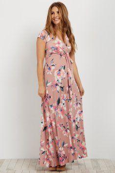 e5eba3f7ff818 Light Blue Floral Short Sleeve Maternity Nursing Wrap Dress