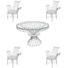 "Mathieu Mategot Model Cap d'ail"" White Dining Set with Table and Four Armchairs 