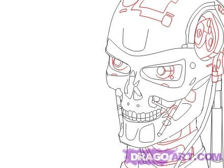 how to draw a terminator step 5  art  Pinterest  Sci fi and