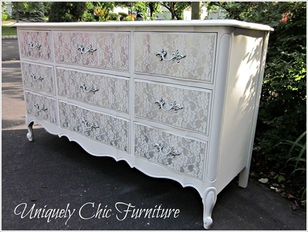 Amazing Interior Design An Old Dresser Got a Stunning Lace Makeover
