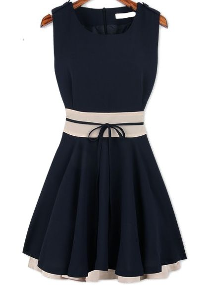2b99f19fa5d77 Navy Sleeveless Ruffle Belt Chiffon Dress -SheIn(Sheinside ...
