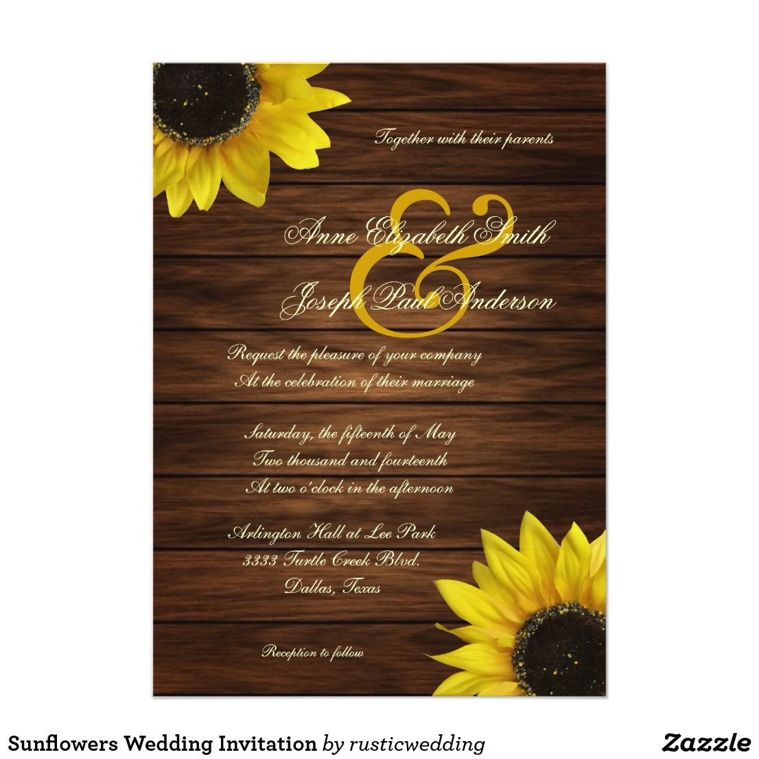 Sunflowers Wedding Invitation (With images