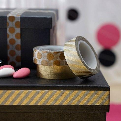 Style Your Party Confetti party - Washi tape - Bedankjes maken, een originele uitnodiging afwerken of van iets simpel iets origineel maken? Laat dan jouw creativiteit helemaal gaan met deze drie verschillende gouden designs van washi tape.