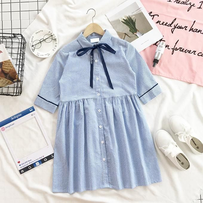 Itgirl Shop Blue Stripes High Collar Cute Bow Dress Aesthetic