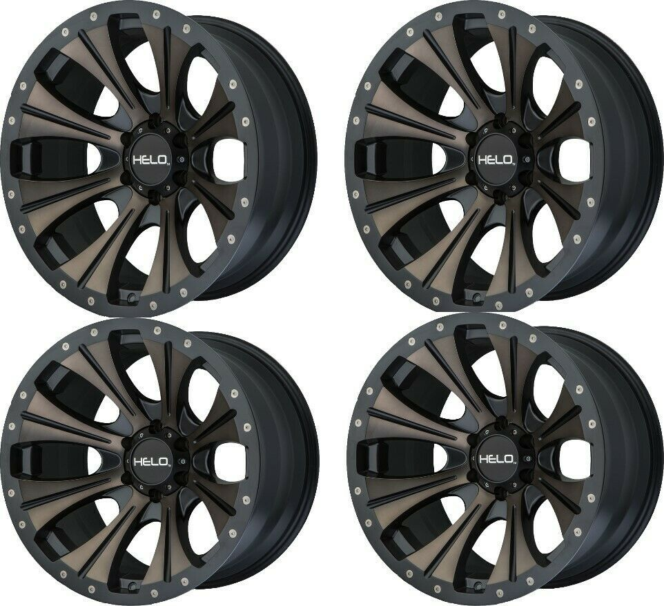 "Set 4 20"" Helo HE901 20x9 Satin Black Dark Tint 5x5 Wheels"