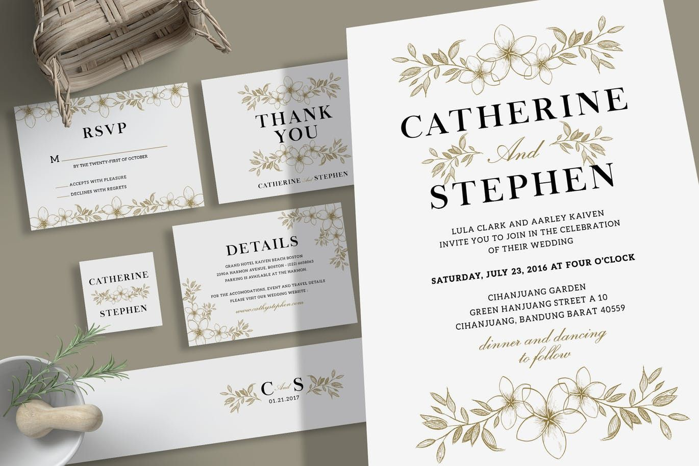 Simple Flower Wedding Invitation Template PSD Download