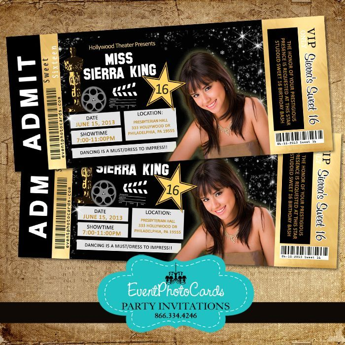 Hollywood Concert Ticket Gold Edition Gold Quinceanera Themes - invitations that look like concert tickets