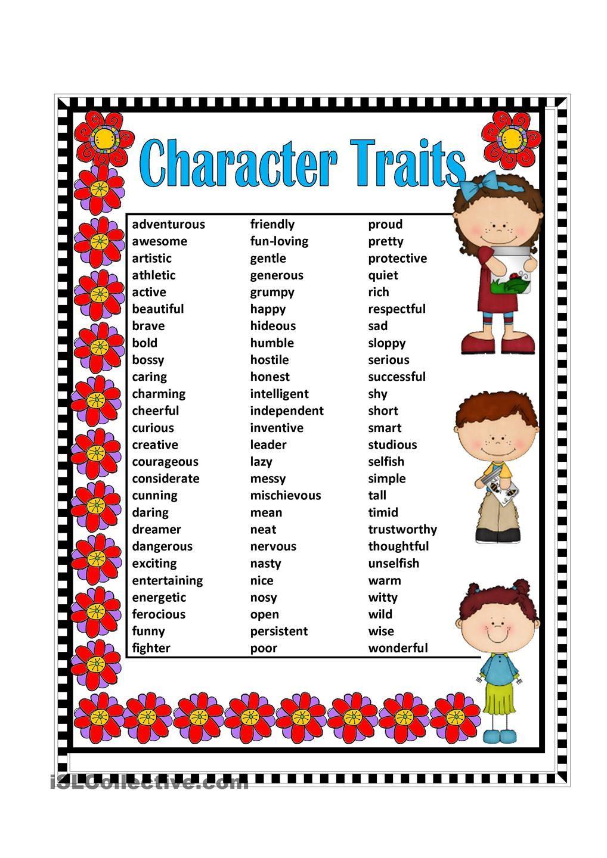 worksheet Character Traits Worksheets posters character traits adjectives google search poster worksheet free esl printable worksheets made by teachers