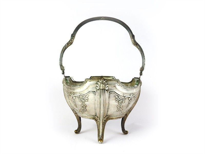 Cestino in metallo argentato periodo Art Nouveau