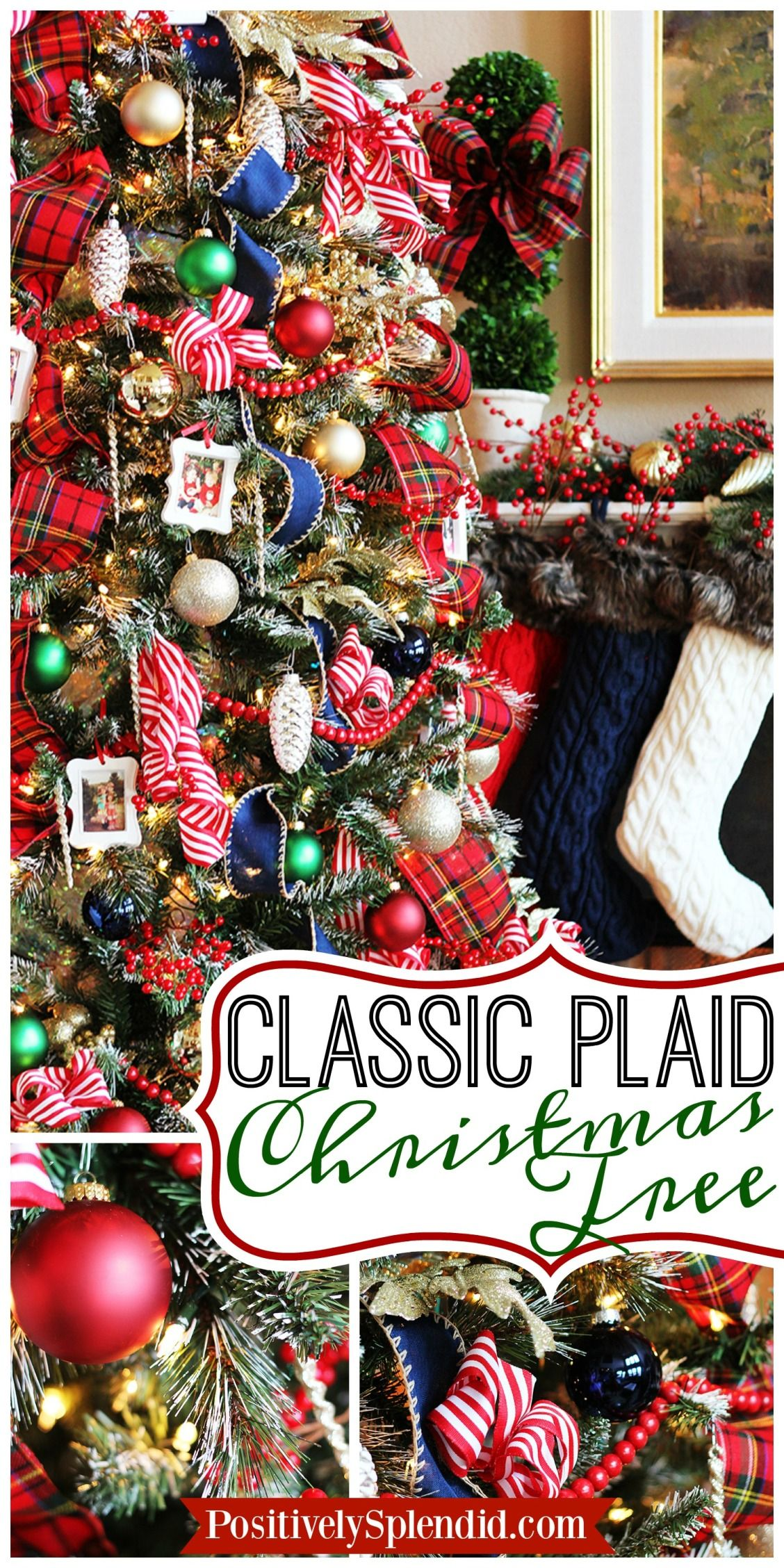 traditional plaid christmas tree decorations are a classic traditional tartan plaid in red white green and blue make this tree a knock out