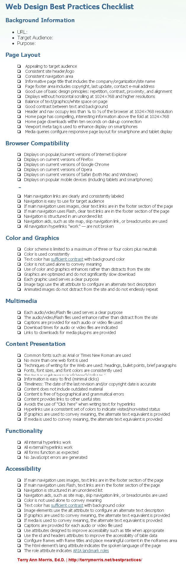 Terry Morris Web Design Best Practices Checklist Web Design Business Infographic Web Development Design