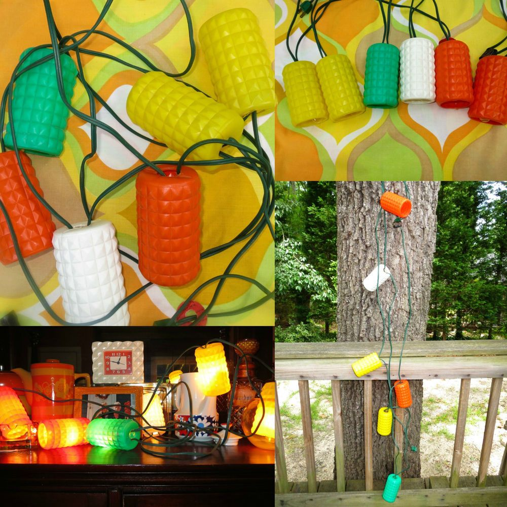 VTG 1960s Retro Lidco Kitsch Lantern Plastic Blow Mold RV Patio String  Lights