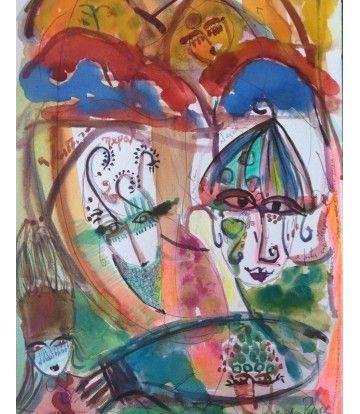 Livia - Livin'Art  di Angelica Pedroso acquarello su carta cm 39,5 x 21