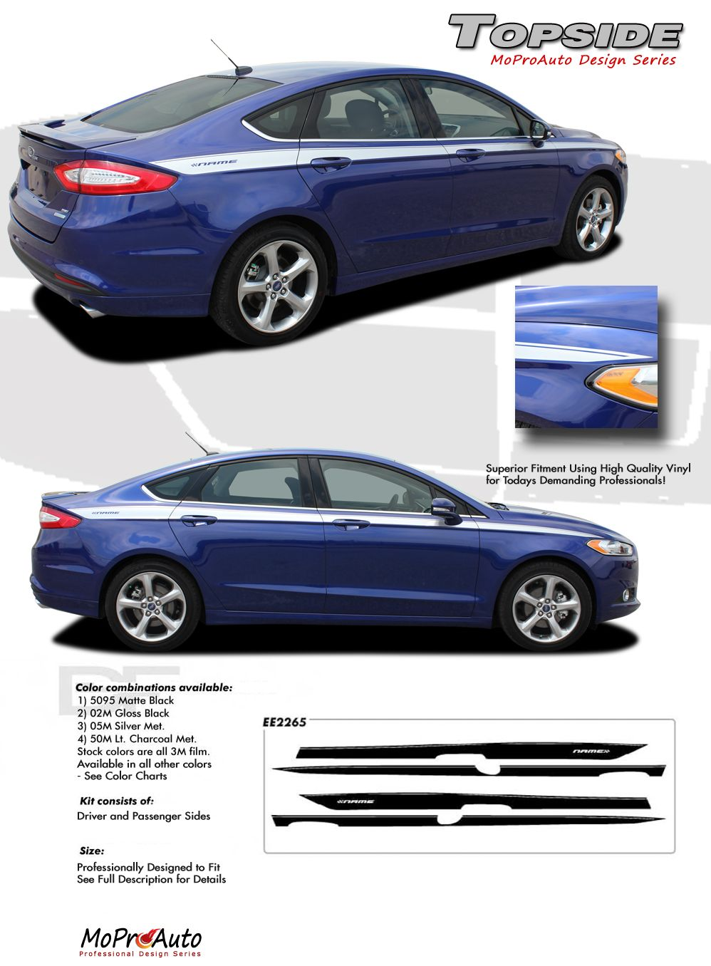 Topside 2013 2014 ford fusion vinyl graphics decals stripe kit