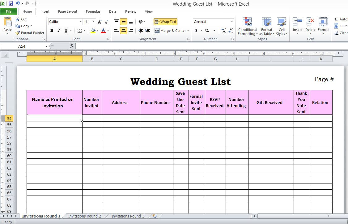 Wedding Planning Excel Template Awesome Wedding Guest List In Excel Need To Use This Or Wedding Invitation List Wedding Guest List Template Wedding Guest List Wedding guest list spreadsheet excel