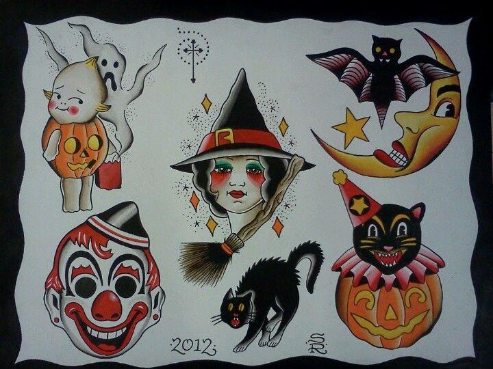 Halloween Tattoo Flash By Steve Rieck Las Vegas Halloween Tattoo Flash Traditional Tattoo Halloween Spooky Tattoos