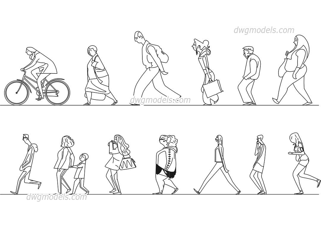 People Stylized 2 Cad Blocks Free Dwg File People