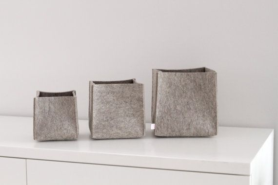 Set Of 3 Storage Bins Made Wool Felt Basket Box Accessory