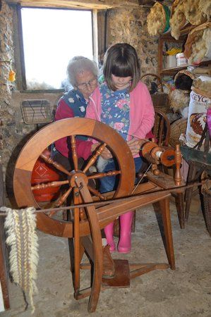 Spinning sheep fleece into wool