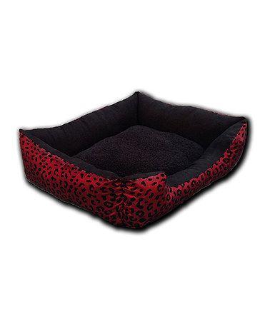 Burgundy Leopard Flocked Pet Bed #zulily #zulilyfinds