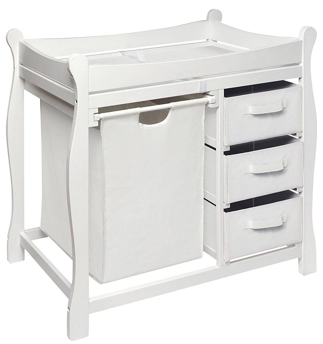 Exceptional Badger Basket Sleigh Style Changing Table With Hamper/3 Baskets   White  #DiaperscomNursery