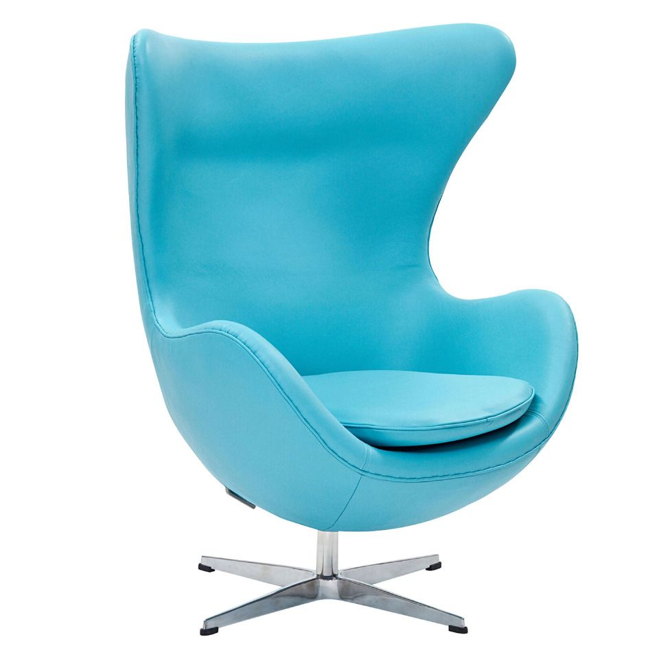 ModWay Furniture Glove Chair In Baby Blue Italian Leather