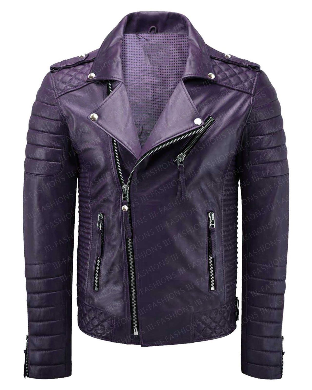 Get Men's Purple Quilted Motorcycle Brando Leather Jacket