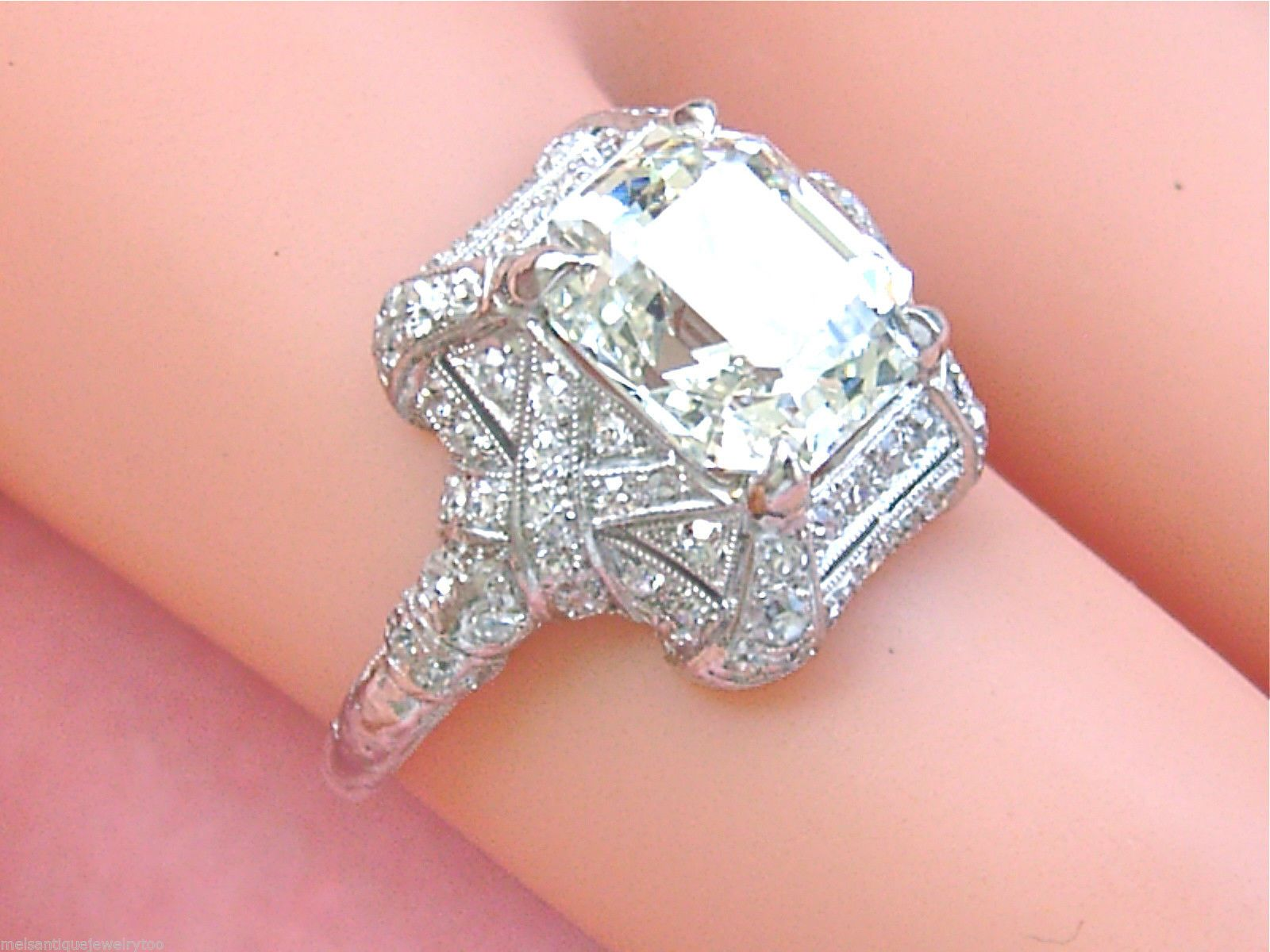ESTATE ART DECO 3.01 ct EMERALD CUT DIAMOND PLATINUM ENGAGEMENT RING ...