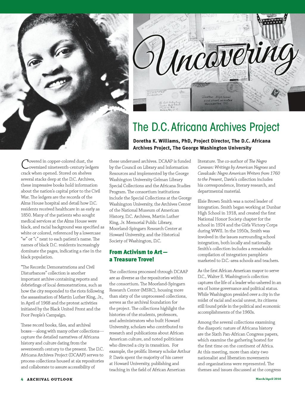 Archival Outlook March April 2016 Page 4 George Washington University African History African Diaspora