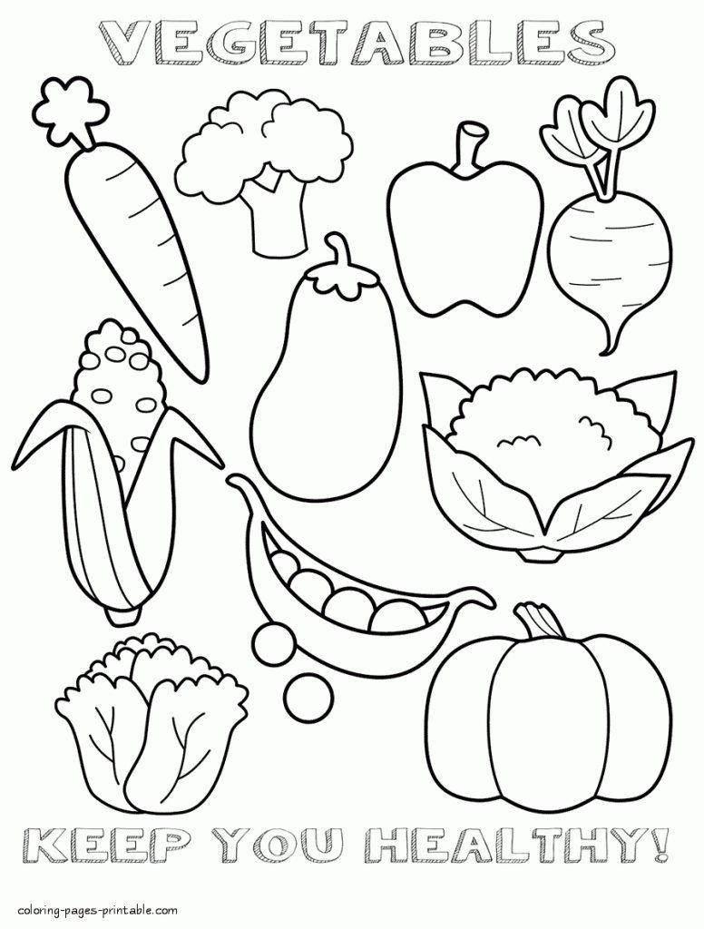 Food Coloring Pages Vegetable Coloring Pages Food Coloring