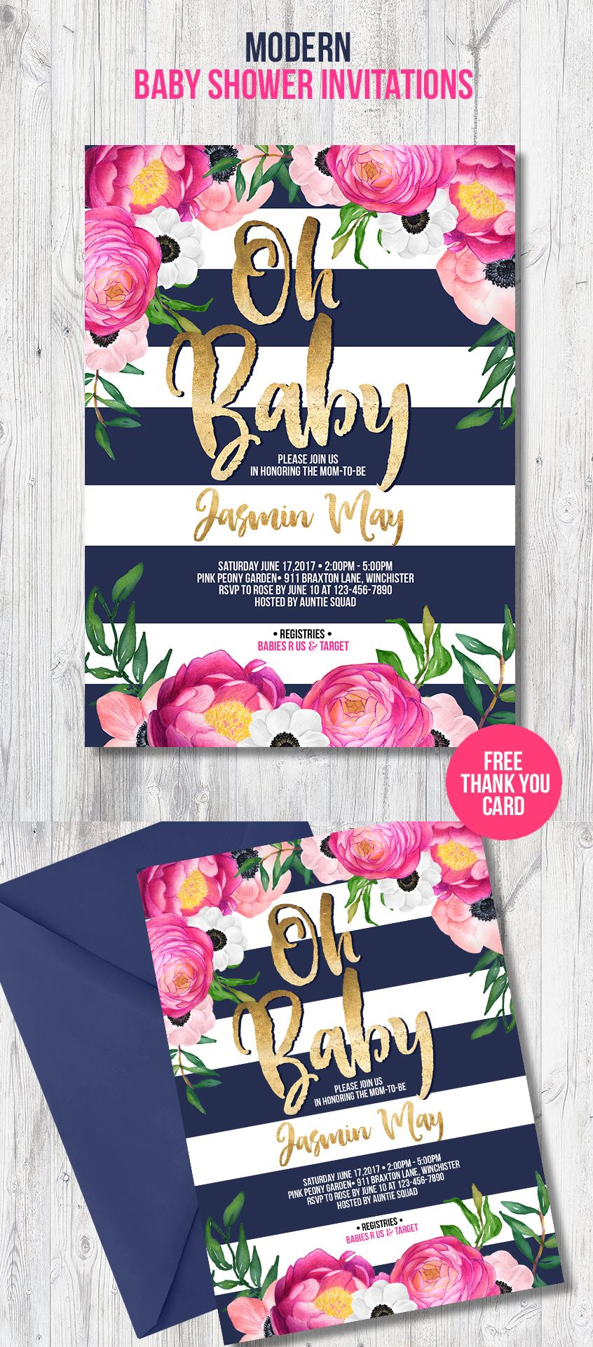 Modern baby shower invitation for your trendy party theme with navy ...