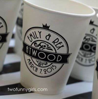 Brunch Wedding Personalized Paper Coffee Cups