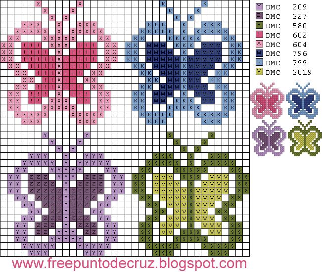 Dibujos Punto de Cruz Gratis: Butterflies Cross Stitch - Mariposas ...