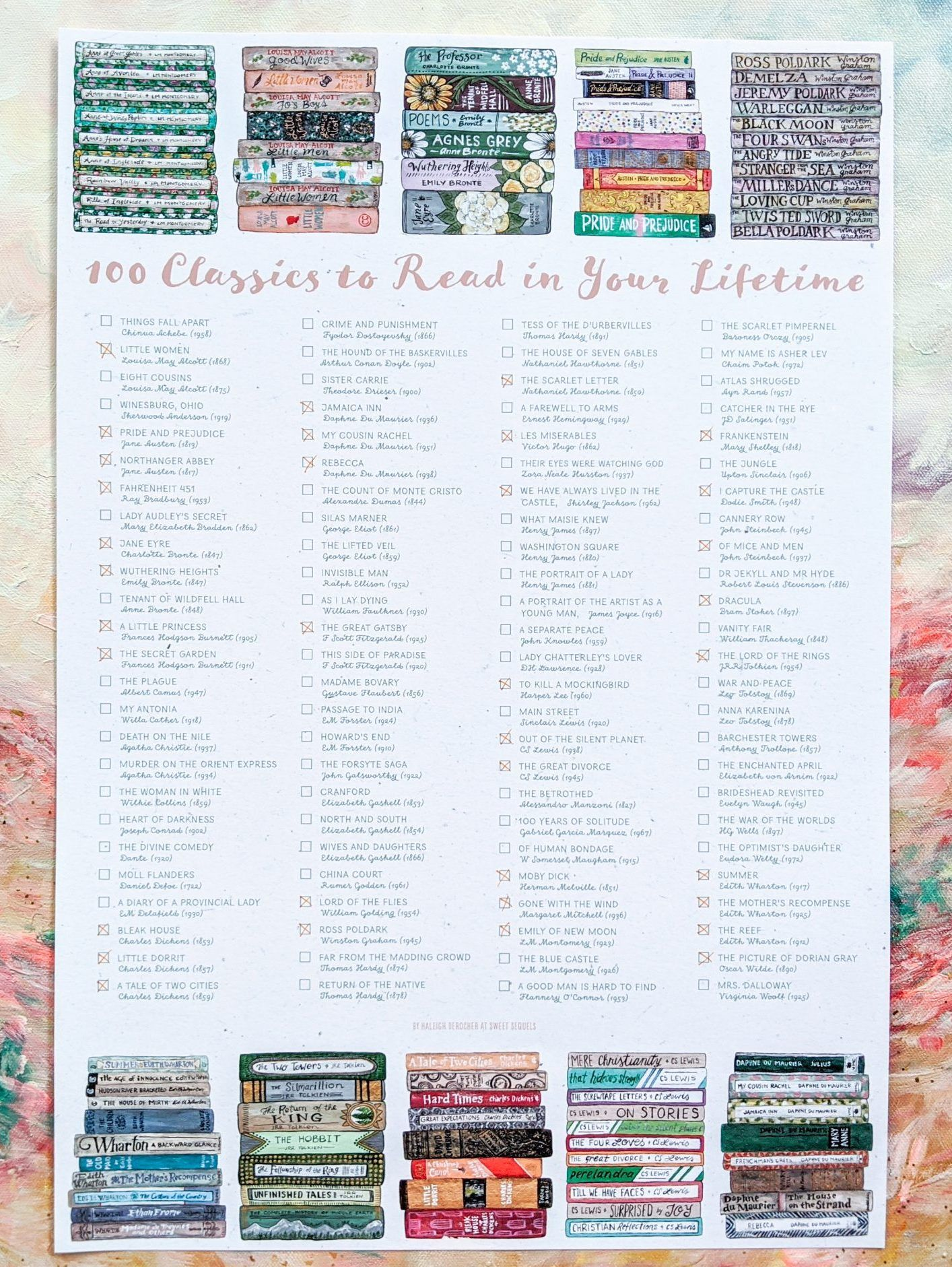 100 Classics To Read In Your Lifetime Literary Checklist Poster Sweet Sequels In 2020 Classics To Read Classic Literature Books 100 Books To Read