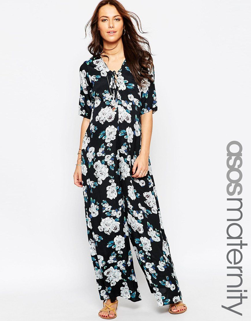 dd661372f57 Image 1 of ASOS Maternity Scallop Wide Leg Jumpsuit In Floral Print With  Lace Up Front